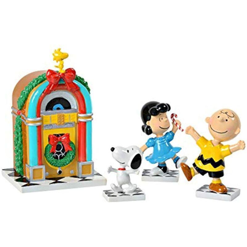 Department 56 Peanuts Charlie Brown Christmas Juke Box Party 4 Musical Figurines