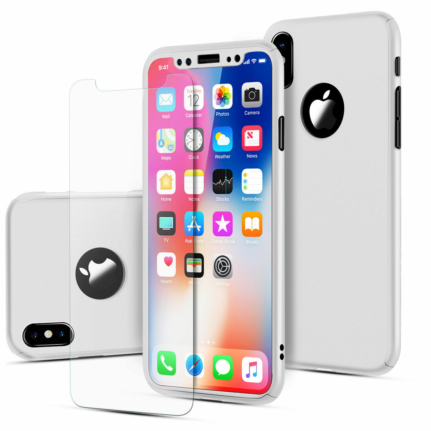 Case Ultra Thin Slim Hard Cover+ Tempered Glass For Apple iPhone 8 6S 7 Plus X