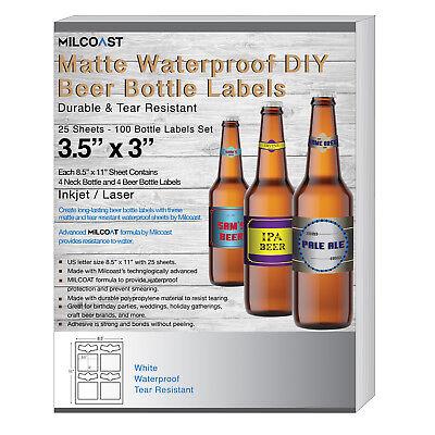 Milcoast Matte Waterproof Diy Beer Bottle Labels - 100 Label Sets 25 Sheets