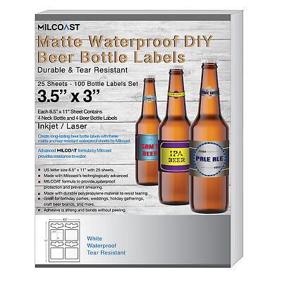 Milcoast Matte Waterproof DIY Beer Bottle Labels - 100 Label