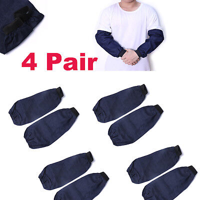 4pair Welding Arm Sleeves Denim Heat Sunscreen Cut Resistant Welding Protection