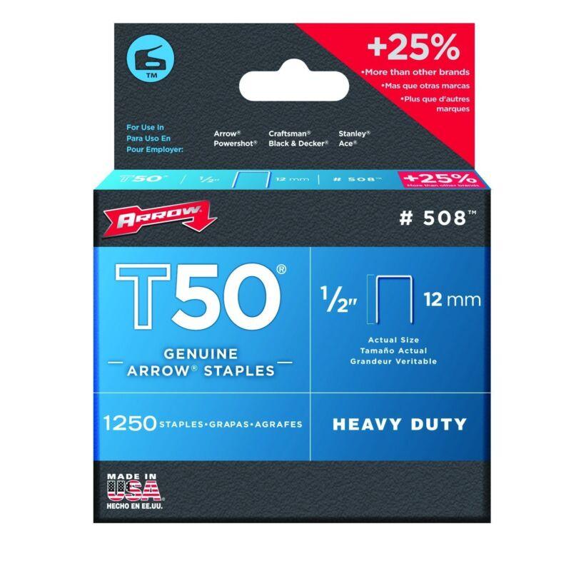 """Arrow 508 T50 1/2"""" Staples, Steel, 1250 Pack"""