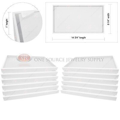 "12 Piece 1"" White Plastic Display Tray Jewelry Storage Stackable Organizer"
