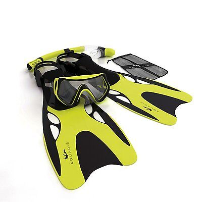 Aquadis Open Foot Dry Top Snorkeling Set with Diving Mask and Dive Gear Bag,
