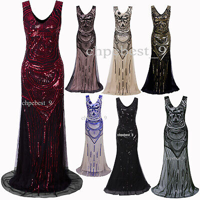 Long Prom Dresses Wedding Gowns 1920's Flapper Costumes Sequins Fringe Plus Size](Plus Size 20s Dress)