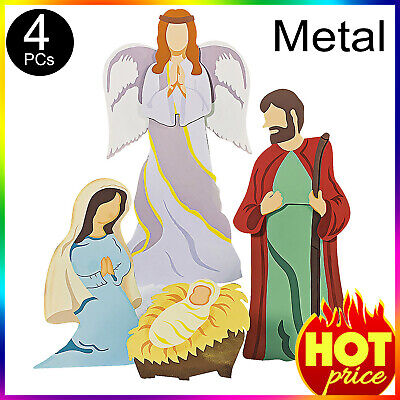 Outdoor Christmas Nativity Scene /w Angel, Yard Decorations Decor Set, Metal 4Pc ()