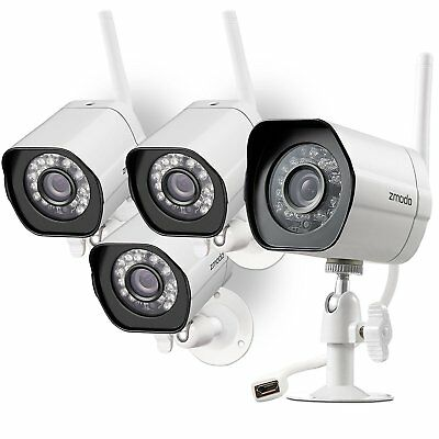 Zmodo 4 Pack 720p Smart WiFI IR IP Network Security Camera Kit with Night Vision