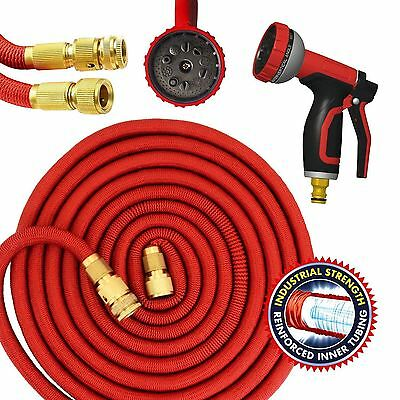 50ft Expandable Garden Hose Flexible Pipe Expanding With Spray Gun Red