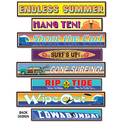 8 Luau Party Surfer Street Sign Cutouts Backdrop wall mural prop DECORATIONS - Luau Background