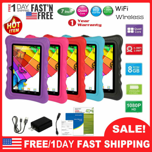 """7"""" Kids Tablet Android 8.1 PC Dual Cameras WiFi 8GB Bundle C"""