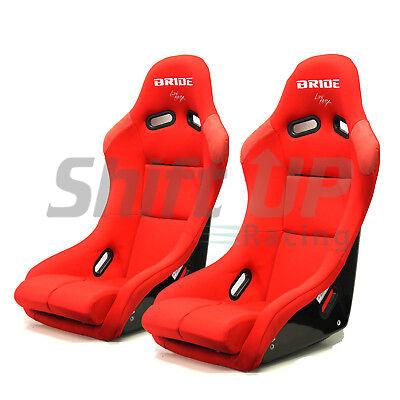 PAIR of BRIDE VIOS III in RED PLAIN Bucket Racing Seats JDM Vios Recaro Momo ()