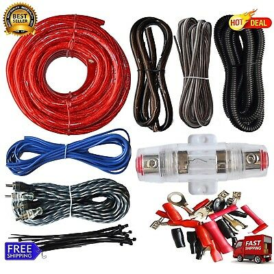- 4 Gauge Cable Car Audio Kit Amp Amplifier Install RCA Subwoofer Sub Wiring New