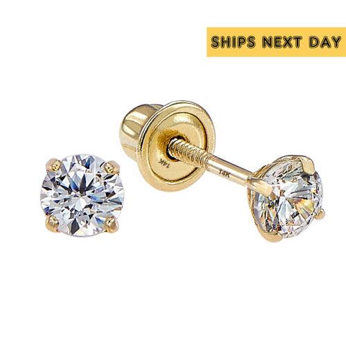 14k Solid Yellow Gold Basket Set Round CZ Stud Earrings, Screw Backs