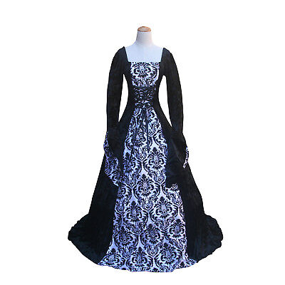 Renaissance Fair Dark Queen Game of Thrones Gown Steampunk Halloween Costume (Halloween Dark Games)