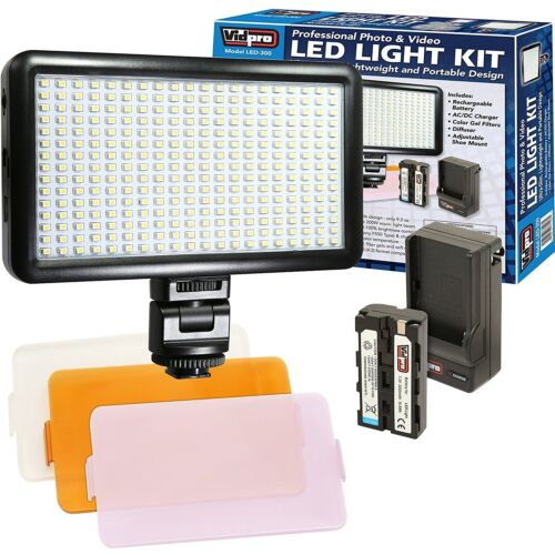 Video Light 300 LED Kit + 3 Diffusers + Battery + Charger for camera & Camcorder