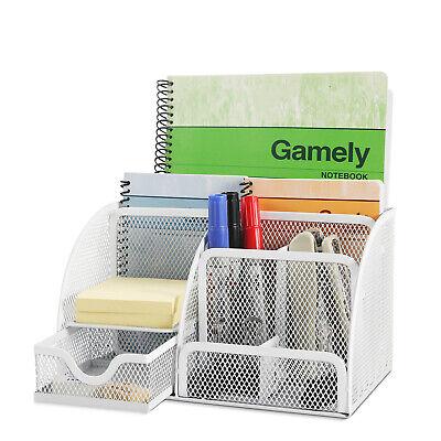 Desk Organizer Office Desktop Tabletop Sorter Pencil Holder Caddy W Drawer