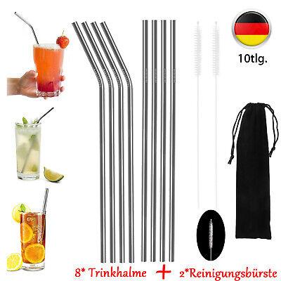 10tlg Edelstahl Metall GETRÄNKE Wiederverwendbar Strohhalm Trinkhalme Party 8+2