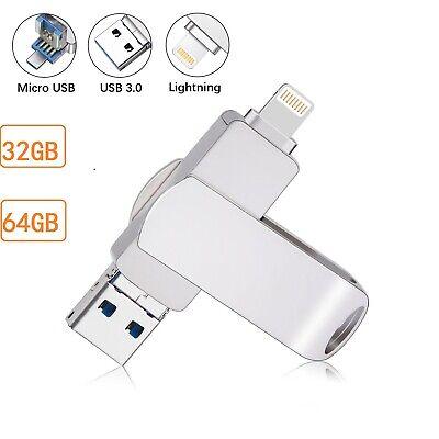 Iphone Usb-stick (32G 64G 3 in 1 USB3.0 Flash Drive Speicherstick Memory Stick iOS iPad für iPhone)