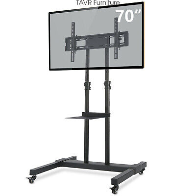 Mobile TV Stand Rolling TV Cart with Wheels for 32-70 inch Flat/Curved Screen TV