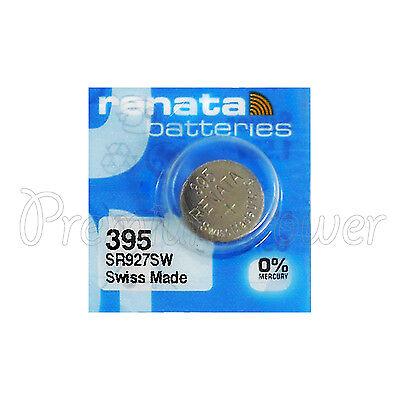 1 x Renata 395 Silver oxide battery 1.55V SR927W SR57 399 Watch 0% Mercury 399 Silver Oxide Watch Battery