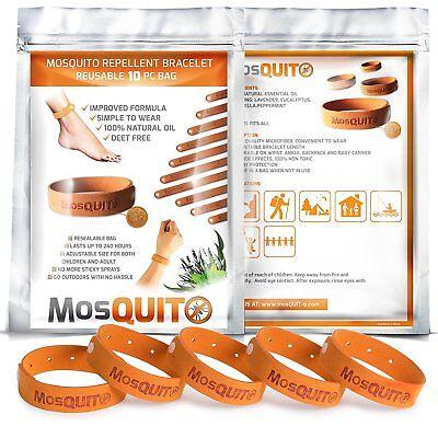 Mosquito Repellent Microfiber Bracelets Wristbands (10) 100% Halfwit DEET Free