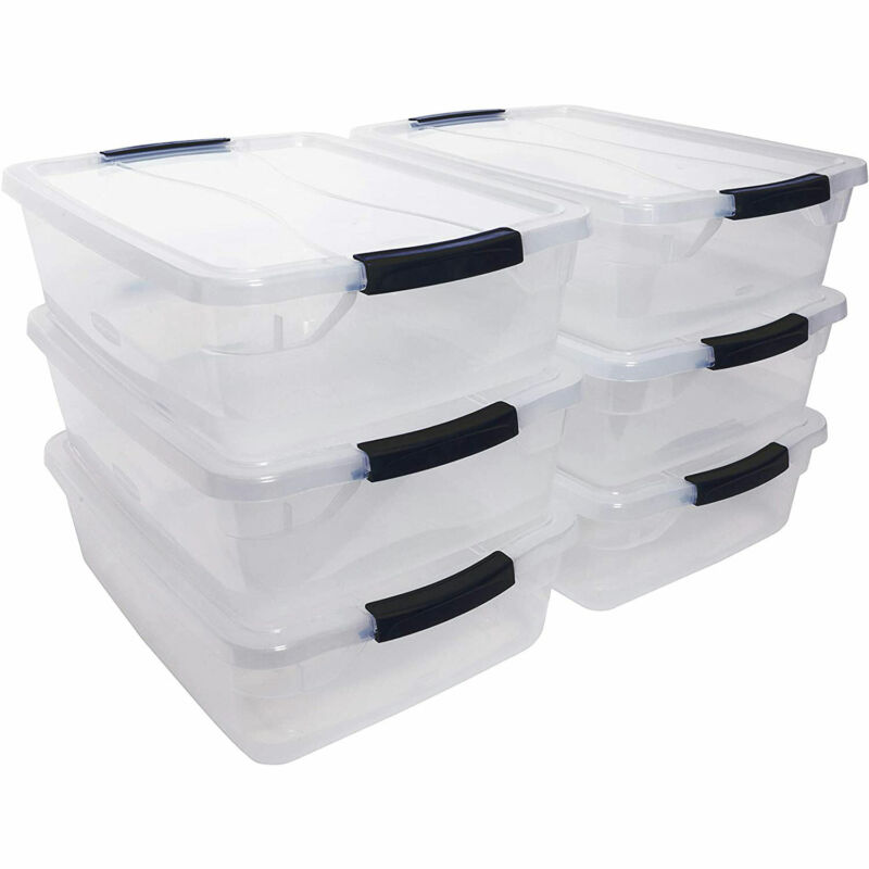 Rubbermaid Cleverstore 16 Quart Plastic Storage Tote Container with Lid (6 Pack)