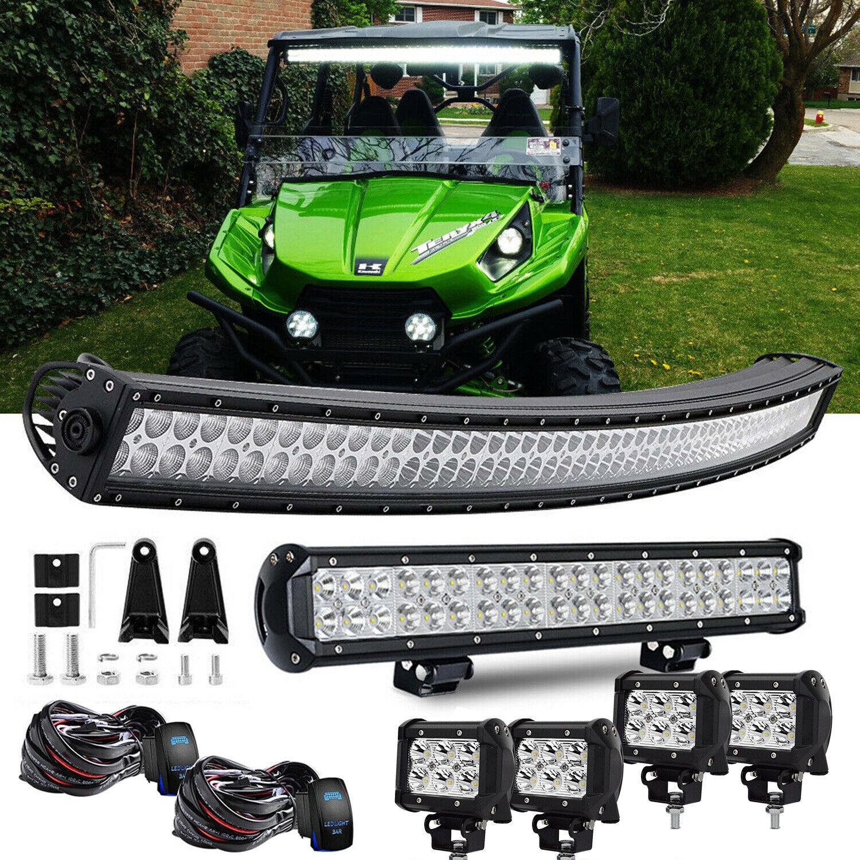"Kawasaki Teryx Teryx4 Mule 610 4010 4/"" Pods Cube+288W 50/"" off road LED Light Bar"