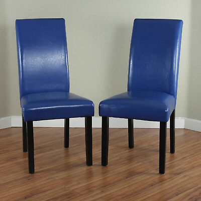 Dining Chairs Set 2 Piece Upholstered Kitchen Furniture Modern Parson Seat Blue 2 Piece Parson Chair