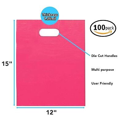 100 Pack 12 X 15 With 1.25 Mil Thick Pink Merchandise Plastic Retail Bags