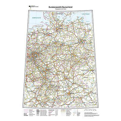XXL DIN B1 topografische Deutschlandkarte Landkarte Poster Wandkarte (K704k)