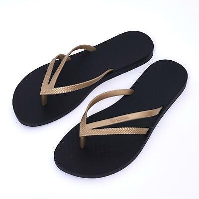 New Ipanema Women Holiday flipflops Rubber Sandals Brazil Beach Black Gold Strap