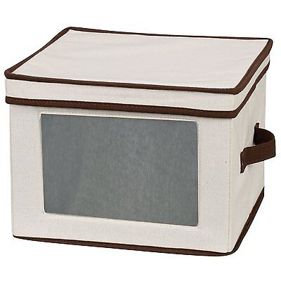 Household Essentials Dinner Plate Storage Chest, Natural Canvas with Brown Trim
