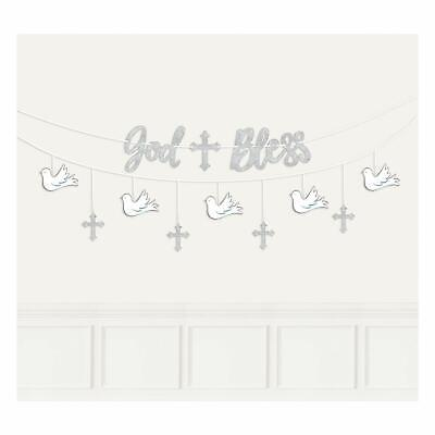 FIRST COMMUNION God Bless Banners Party Decoration Religious Ceremony Cross -
