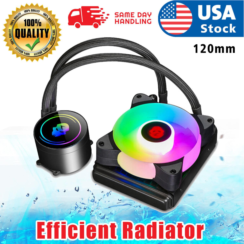 USA 120mm RGB Water CPU liquid Cooler fan  For Am4/ intel LGA 1151 2011 Computer Components & Parts