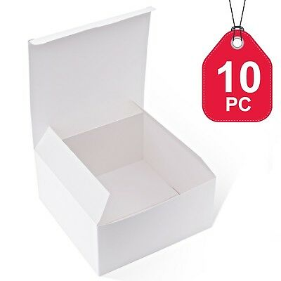 MESHA Gift Boxes 10 Pack 8 x 8 x 4 Inches White Cardboard Gift Boxes with Lid... - Cardboard Gift Boxes With Lids