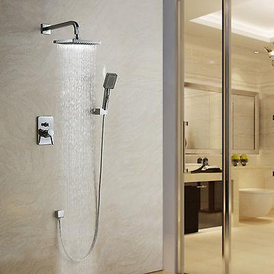 US Wall Mount Modern Chrome Finish Rain Shower Head Faucet Set with Mixer Valve