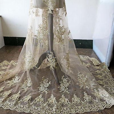 Vintage Bordado Vestido de Novia Bricolaje Tela Oro Encordado Encaje 0.5