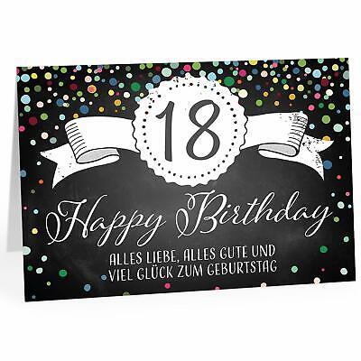 Große Glückwunsch Gruß-Karte 18. Geburtstag Design A4 XXL Umschlag edel modern