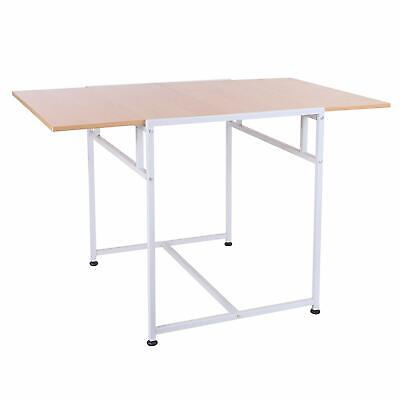 "Wood Top Drop Leaf 47"" Folding Computer Table Writing Laptop Desk"
