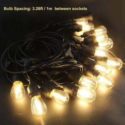 Heavy Duty Commercial Grade IP65 Waterproof String Lights Bulb 48Ft 18 LED