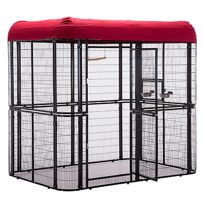 Heavy Duty Bird Cage Parrot Walk In Aviary Play Top LARGE, Roof Cover Included ()