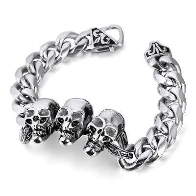 MENDINO Men's Stainless Steel Bracelet Skull Curb Link Chain Fleur de lis Clasp