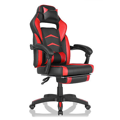 Gaming Chair Ergonomic Office Height Adjustable Swivel Racing Style Recliner Red