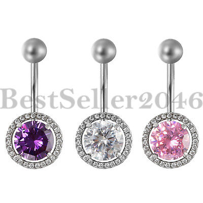 14G Surgical Steel Belly Button Ring Navel Rings Round CZ Barbell Stud -