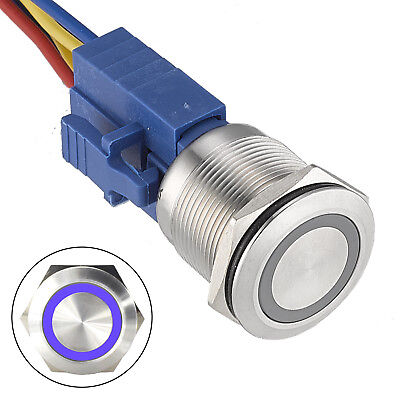 22mm Latching Push Button Switch 12v Angel Eye Ring Light Led Waterproof Stainle