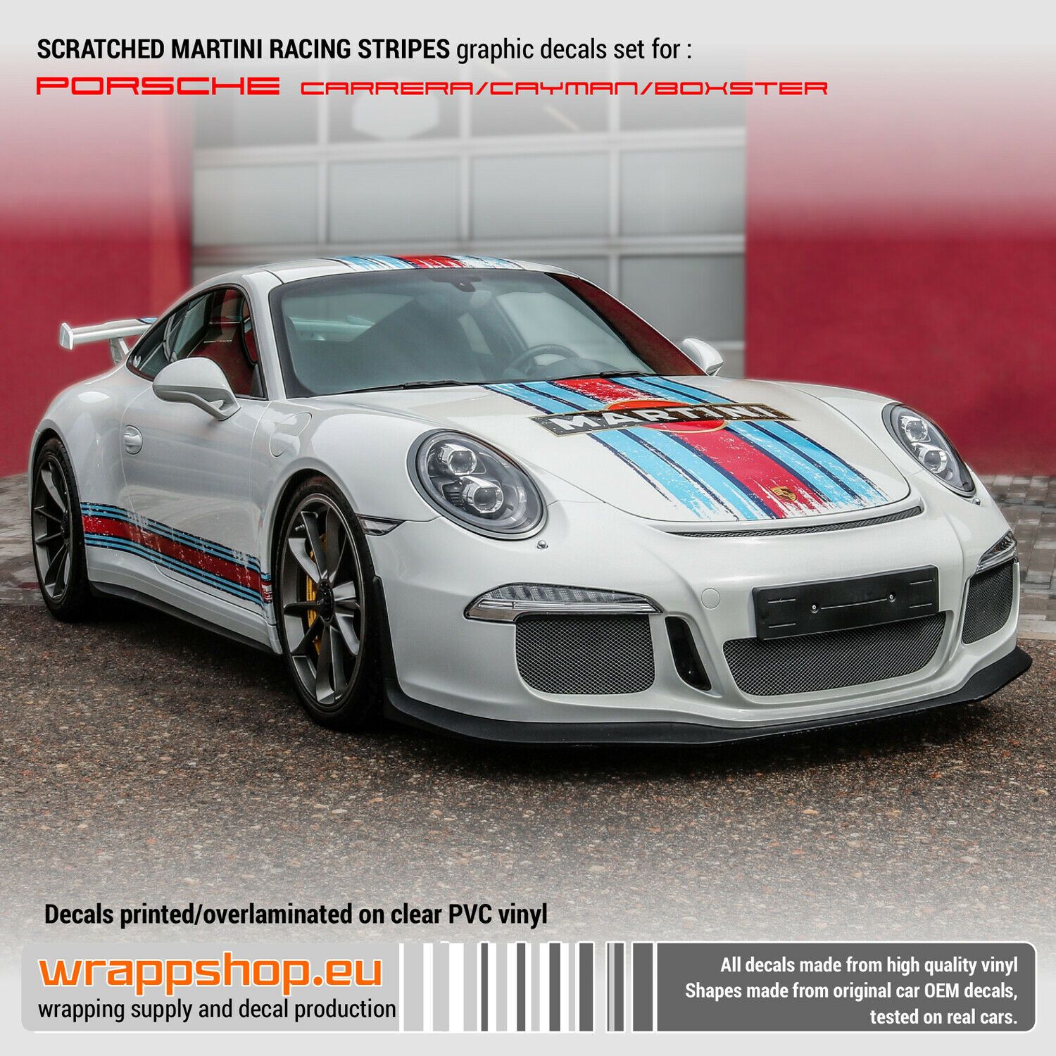 Scratched Martini Racing Stripes For Porsche Carrera Cayman Boxster Ebay