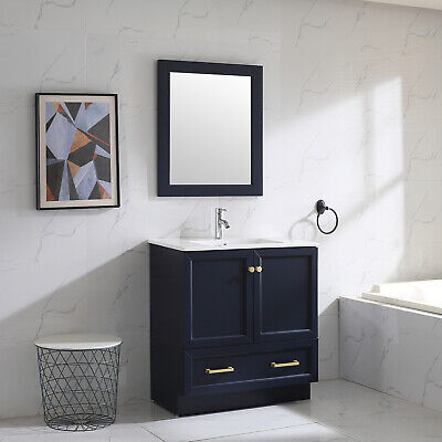 "Navy 32"" Bathroom Vanity Single Cabinet Bathroom Shaker & Sink/ Mirror/ Faucet"