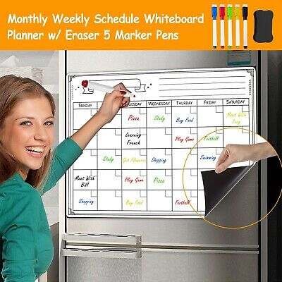 Monthly Magnetic Whiteboard Calendar Dry Erase Board Fridge Planner 5marker Pens