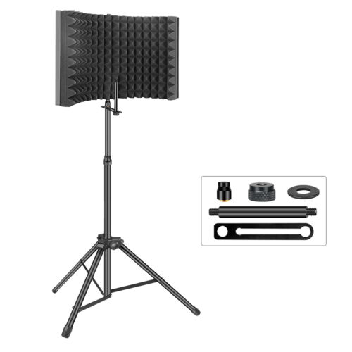 Aokeo Recording Studio Soundproofing Microphone Isolation Shield Foam With Stand