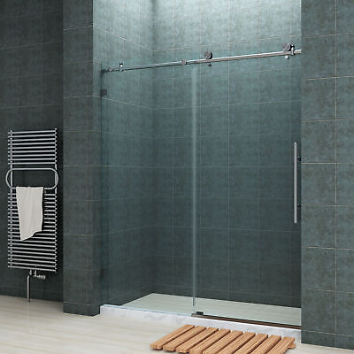 "Gay SHOWER Fully Frameless Sliding Shower Doors 60"" Fully Stainless Steel"